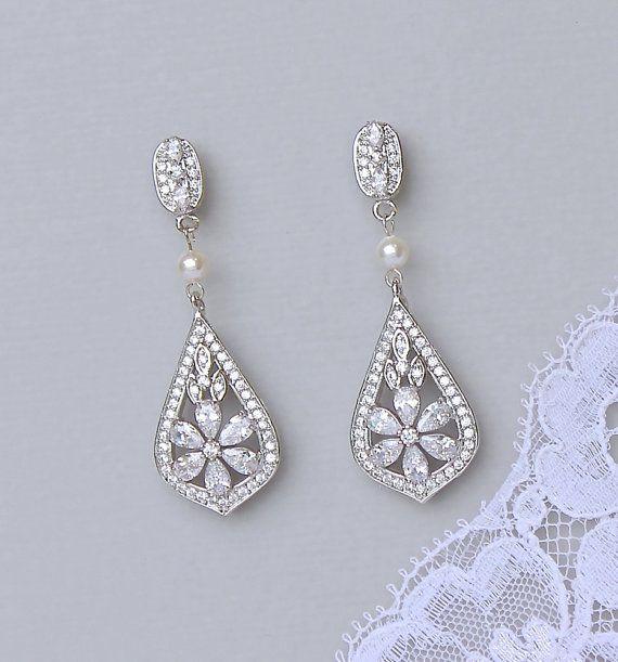 Kroonluchter oorbellen, Crystal Bridal oorbellen, zilveren bruids juwelen, Vintage bruiloft oorbellen, PAIGE P
