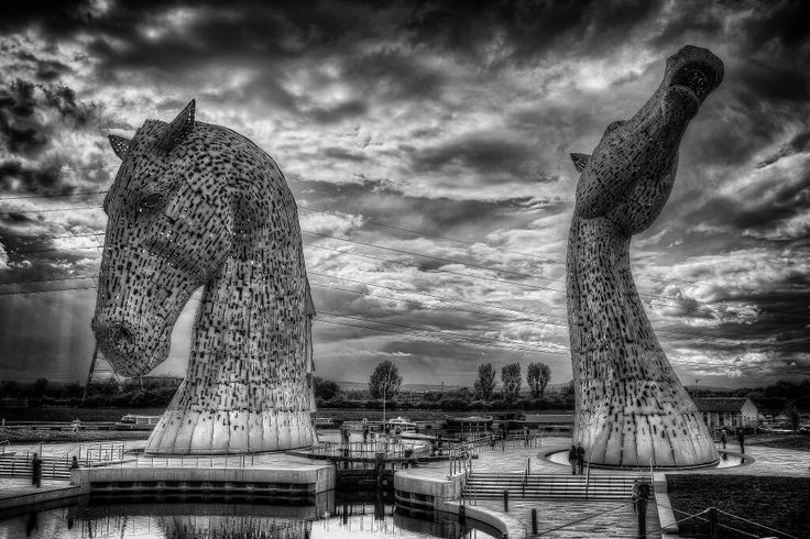 The Kelpies and a cloudy sky.