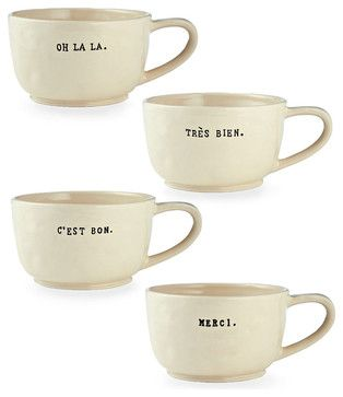 Cafe Au Lait Mugs, Set of 4 transitional-cups-and-glassware
