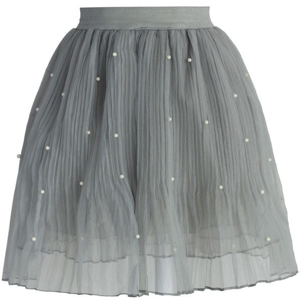 Chicwish Pearly Stars Tulle Skirt in Smoke (3625 RSD) found on Polyvore featuring skirts, bottoms, grey, layered tulle skirt, grey skirt, tulle skirt, layered skirt and knee length tulle skirt