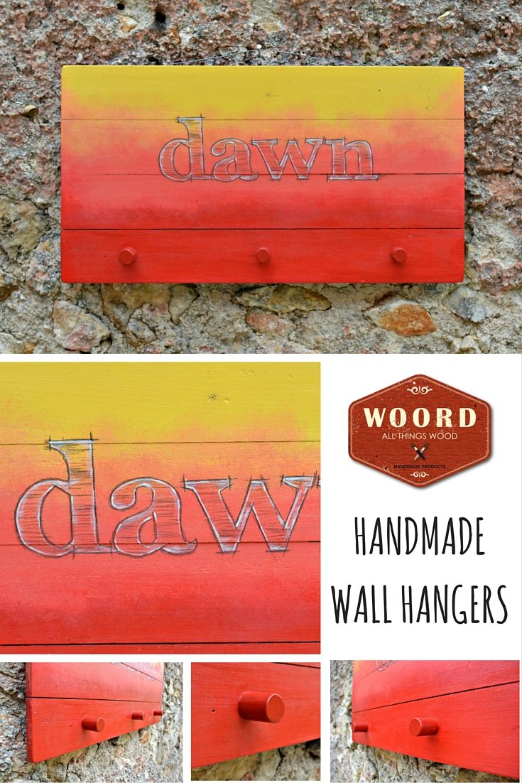 """""""DAWN"""" A modern wooden wall hanger from reclaimed pallet, hand-painted in sunset colors as background with handwritten sketch letters. This hanger is inspired by the beautiful sunsets of Greece. To remind you the marvelous greek summer. http://www.woord-handmade.com/works/handmade-hangers/ https://www.etsy.com/shop/WOORDshop https://www.facebook.com/Woord.handmade #wall_hangers #greek_summer #greece #sunset #woord"""