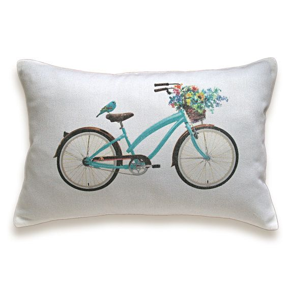 Bicycle Pillow Cover 12x18 inch White Cotton by DelindaBoutique, $23.00