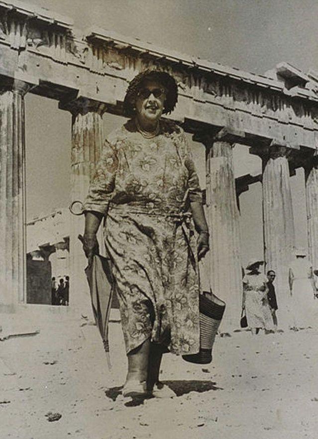Athens 1958. Agatha Christie visiting Acropolis