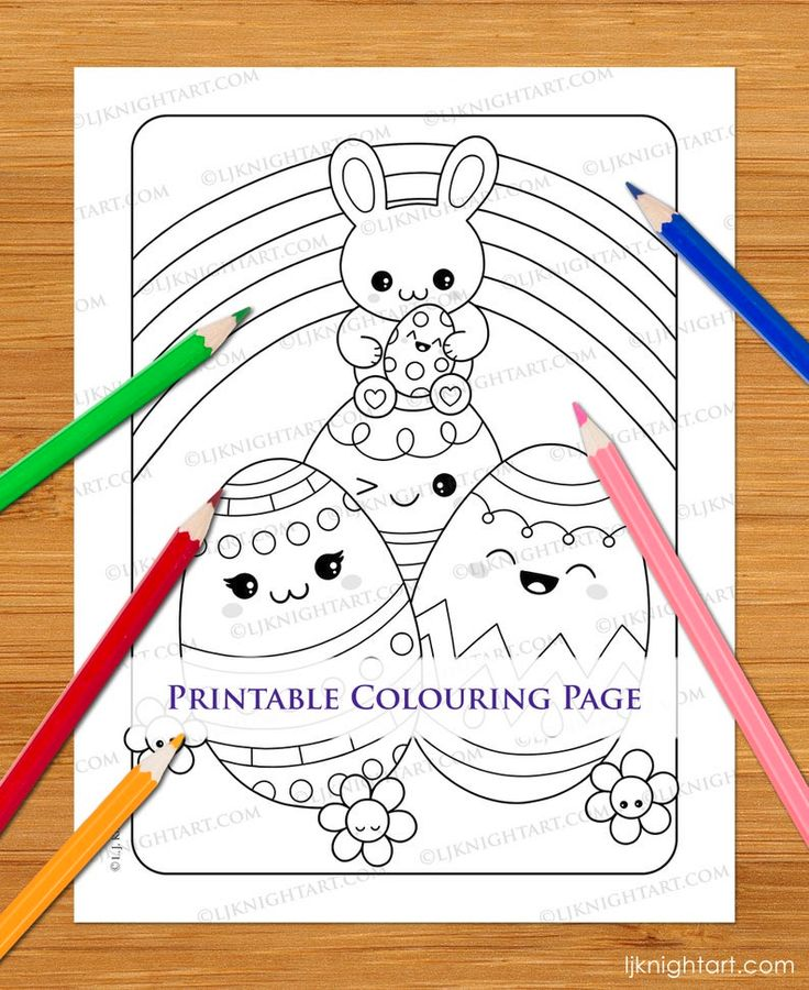 Cute Kawaii Easter Bunny Rabbit & Eggs Printable Colouring