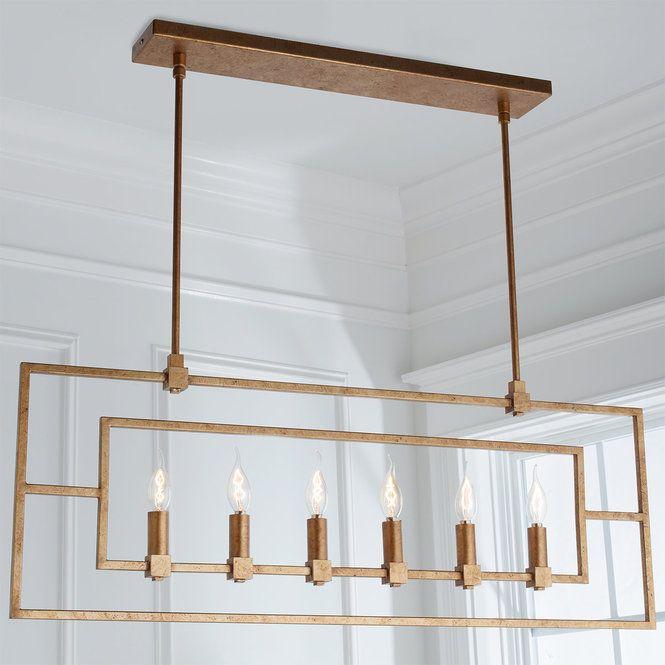 Geometric Double Frame Linear Chandelier Linear Chandelier Rectangular Chandelier Modern Chandelier