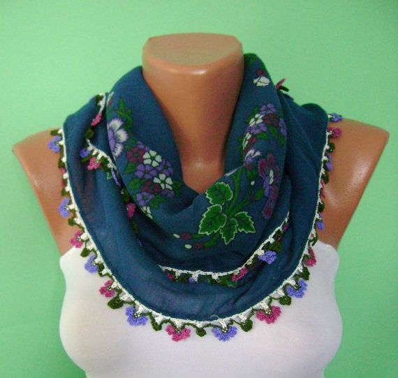 Turkish Bride Dowry Oya Scarf, Hand Painting, Square,Hand Crocheted Lace, Ethnic, Mothers Day