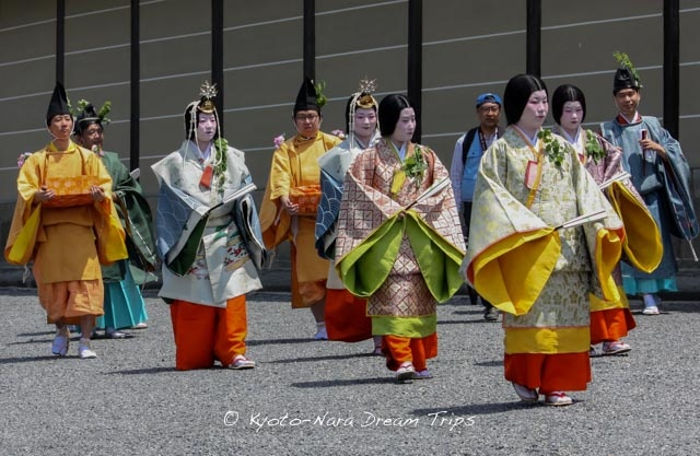 Court ladies dressed in the ceremonial robes of the ancient Heian Court participate in the Aoi Matsuri (葵祭) held annually in the Old Capital of Japan, Kyoto.