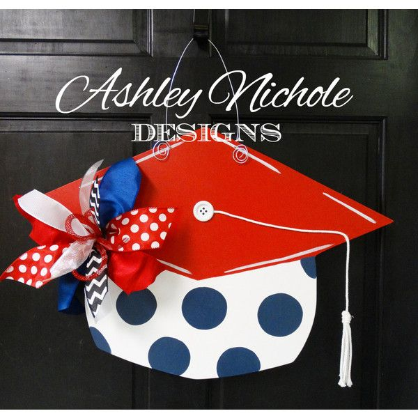 Graduation Cap Door Hanger Graduation Decoration (5040 RSD) ❤ liked on Polyvore featuring home, home decor, grey, home & living, home décor and ornaments & accents