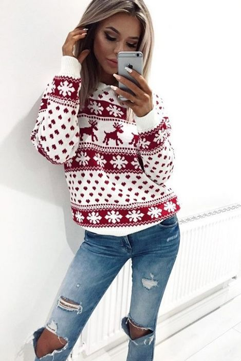 ugly christmas sweaters, fashion christmas party sweaters, white cute  christmas eve sweaters - Red Crew Neck Snowflake Printed Ugly Christmas Sweater Christmas