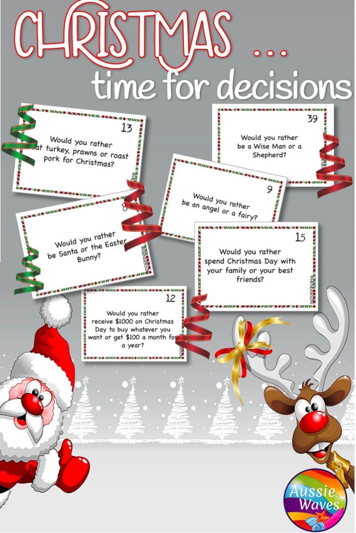 picture about Would You Rather Cards Printable named Xmas Would Oneself Fairly? Getaway Enjoyable My TPT Shop