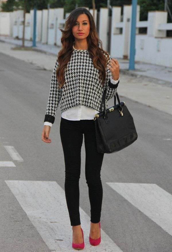 Consider teaming a black and white houndstooth crew-neck sweater with black slim jeans and you'll look like a total babe. Grab a pair of neon pink suede pumps to va-va-voom your outfit.  Shop this look for $105:  http://lookastic.com/women/looks/crew-neck-sweater-dress-shirt-tote-bag-skinny-jeans-pumps/4957  — Black and White Houndstooth Crew-neck Sweater  — White Dress Shirt  — Black Leather Tote Bag  — Black Skinny Jeans  — Hot Pink Suede Pumps