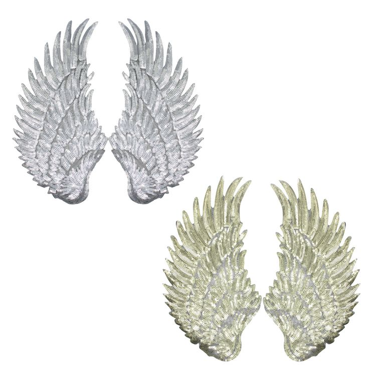 Top Sale 1 Pair Sliver Gold Sequins patch DIY Wings patches for clothes Sew-on embroidered patch motif applique deal with it #Affiliate