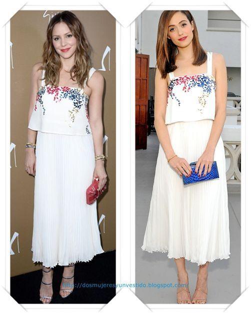 Un vestido blanco plisado y bordados de Elle Sasson primavera 2015 lo llevo primero Katharine McPhee en la inauguración de la tienda de Giuseppe Zanotti; después se lo vimos a Emmy Rossum en la fiesta de la revista de Glamour