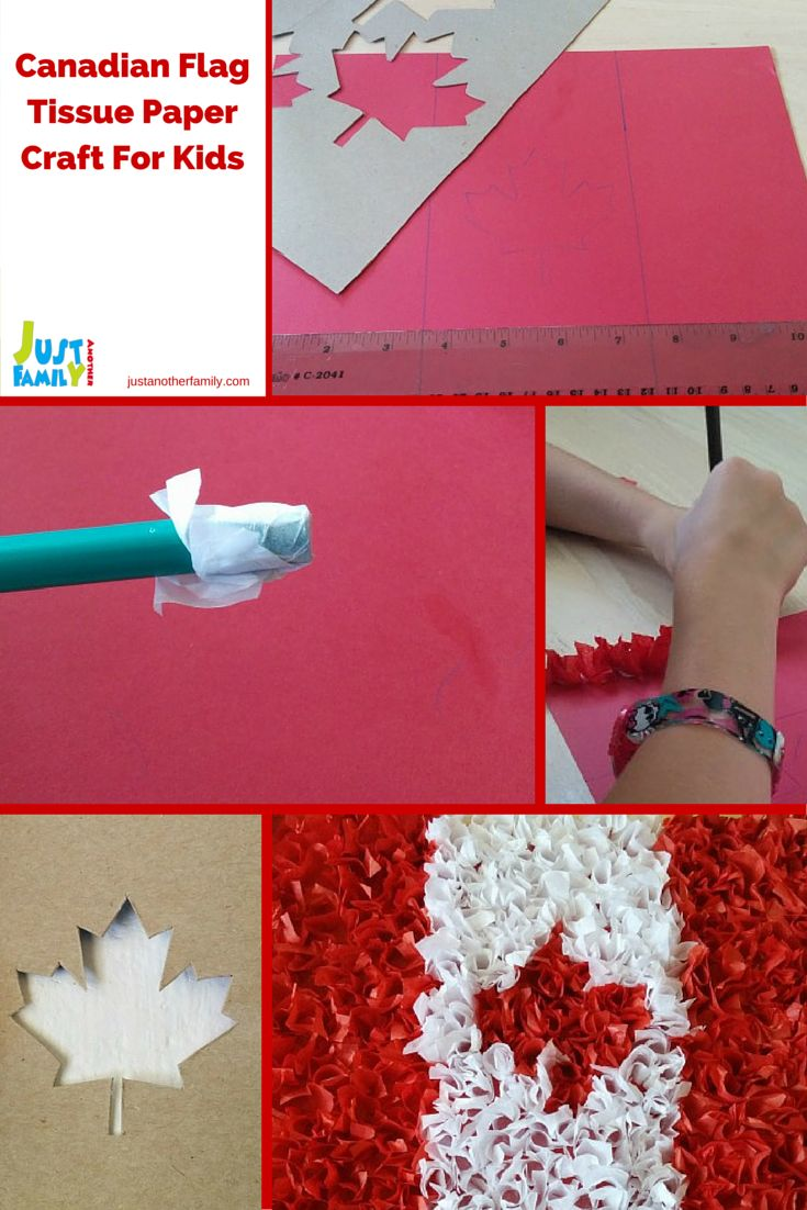 In honour of Canada day this is a fun and easy to do craft using red and white tissue paper to make a cool looking Canadian flag.