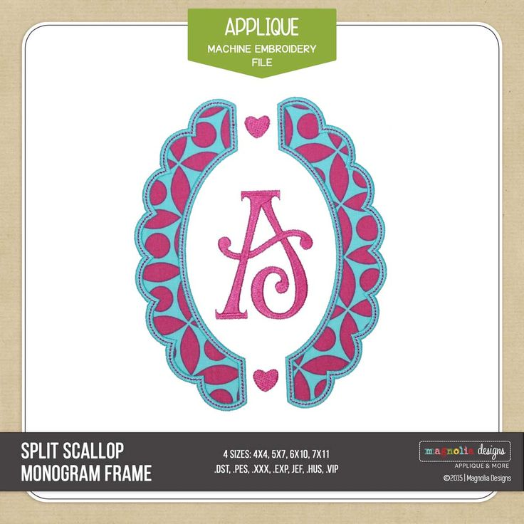 This Split Scalloped Monogram Frame Applique comes in Horizontal and Vertical orientation as well as dots and hearts as accent options. So fun and versitile, pick it up today at Magnolia Designs