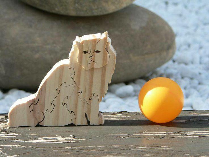 """Puzzle animaux"""" Le chat persan"""" en bois découpé jeux de construction le bois découpé  # Animaux En Bois Découpé"""