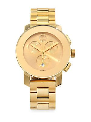 Movado Goldtone IP Stainless Steel Chronograph Watch