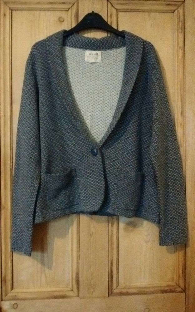 SEASALT 16 WARM GEOMETRIC SISKIN CARDIGAN/JACKET - Blue Grey/White Autumn/Winter  | eBay