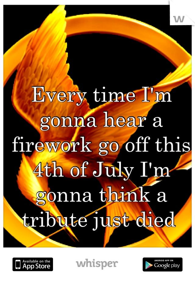 Every time I'm gonna hear a firework go off this 4th of July I'm gonna think a tribute just died