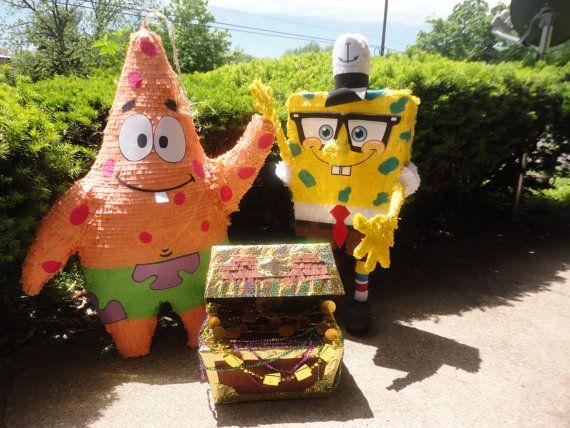 Spongebob or Patrick Pinata, and cards holder.. by Marlenespinatas on Etsy
