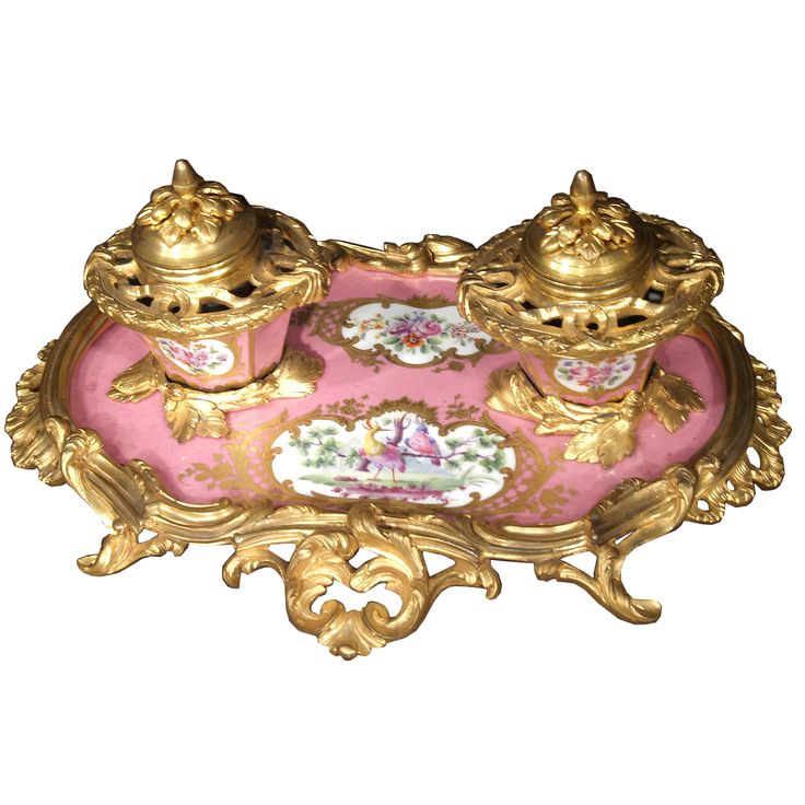 ormolu mounts | ... French Louis XV St. Sevres Porcelain And Ormolu Mounted Inkwell