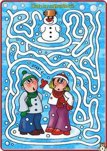 Děti a sněhulák -bludiště