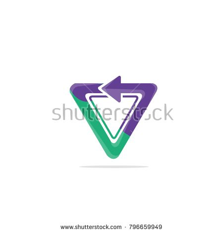 Triangle Logo Template with Arrow Colorful concept