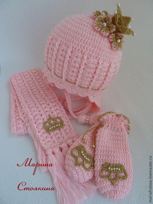 """Шапки и шарфы ручной работы. Ярмарка Мастеров - ручная работа. Купить комплект """"Розовая принцесса"""". Handmade. Розовый, шапочка вязаная"""