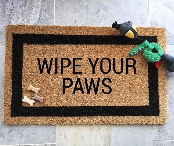 """Coconut Coir Door Mat - Wipe Your Paws"""" Black Border Coir Doormat with Vinyl Backing 