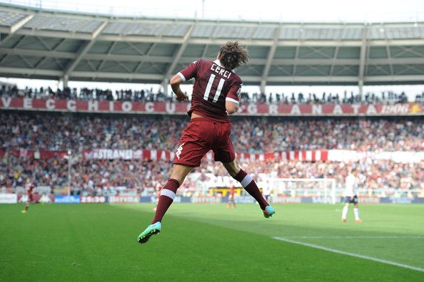 Alessio Cerci of Torino FC celebrates scoring their second goal during the Serie A match between Torino FC and Cagliari Calcio at Stadio Oli...