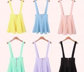 Womens Belt Waist Suspender Skirt Pastel Skater Flared Pleated Mini Dress USO1