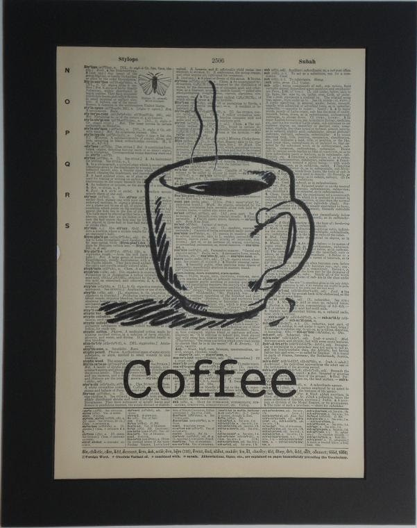 coffee cup vintage dictionary print book page art 800 via etsy - Book Pages Art