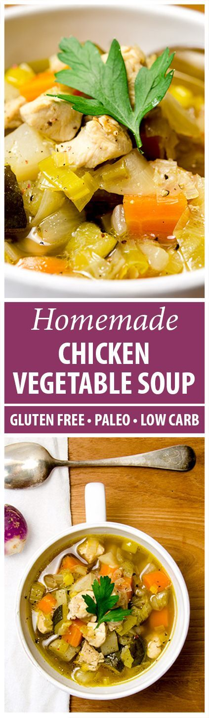This chicken vegetable soup recipe has the traditional mirepoix plus leeks, turnips and zucchini to keep it interesting...and wow is it delicious.