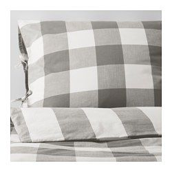 EMMIE RUTA, Duvet cover and pillowcase(s), gray, white
