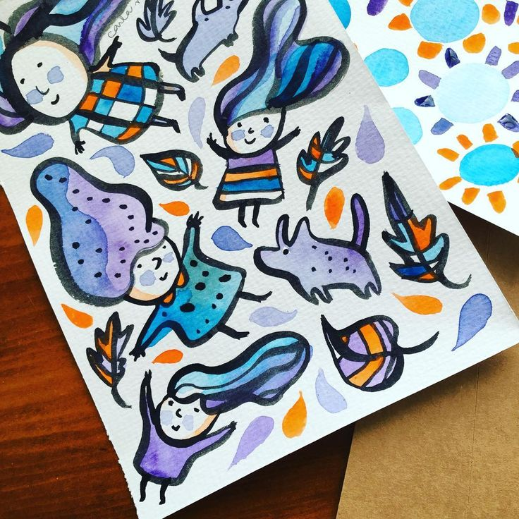 Windy day watercolour people | Carla Martell