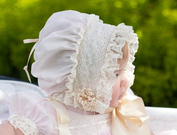 French Bonnet with Drawstring Crown by CatherynCollins on Etsy, $125.00