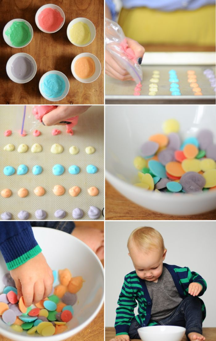Make your own frozen yogurt dots- great snacking for kids.  Great for Easter treats instead of Jelly Beans.