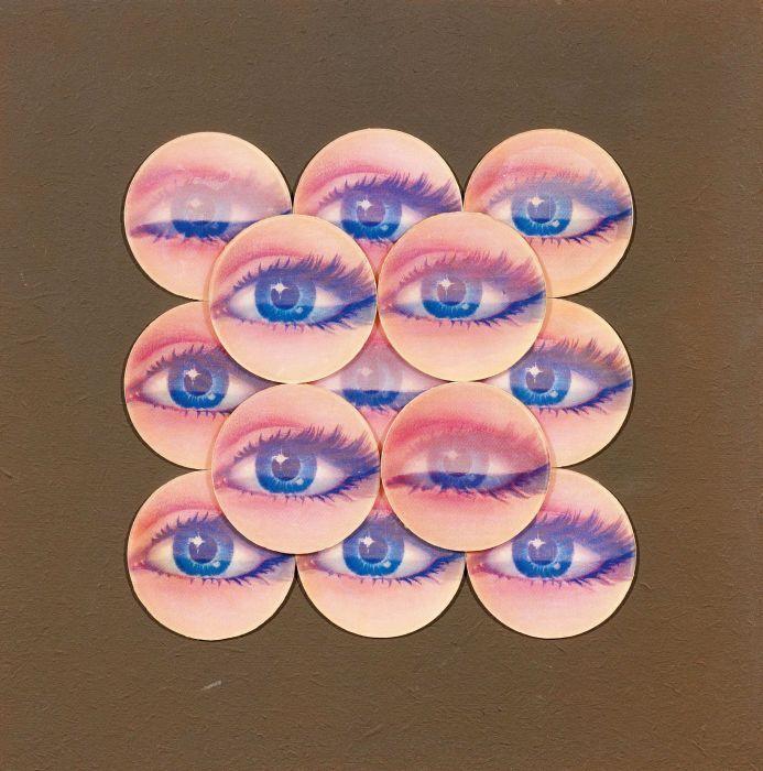 Rudolf Glasmeier, Kaufhaus Objekt - Augen 3d. 1973. Collage (13 Hologramm-Bilder) auf bestrichener Hartfaser-platte, 35 x 35cm. VAN HAM Kunstauktionen.