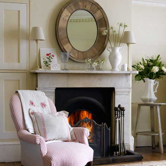 Country Chic Living Room And Fireplace Living Room Pinterest