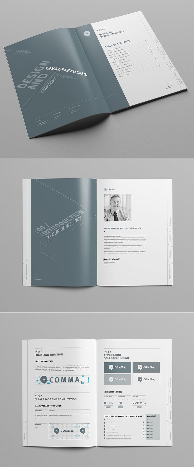 Brand Manual And Identity Template U2013 Corporate Design Brochure U2013 With 48  Pages And Real Text  Manual Design Templates