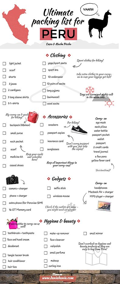 Ultimate Packing List for Peru
