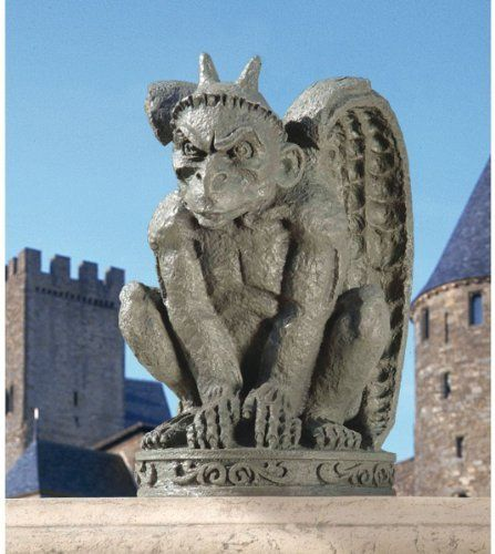 The Cathedral Gargoyle Statue - Set of Two by Design Toscano. $69.95. Hand finished. Cast in quality designer resin. Design Toscano exclusive. DB924216 Quantity: Set of 2 With tall horns, spiny claws, a menacing face and muscular wings, our Gothic beast is ready to wreak havoc from castle wall to garden path. Teetering on his haunches and ready to strike, our fearsome gargoyle is cast in quality designer resin with a faux stone finish sure to impress in home or garden....