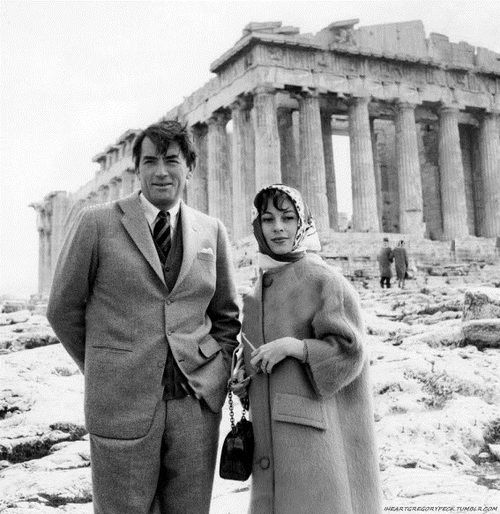 Gregory Peck and his wife Veronique Passani visiting the Acropolis in 1960