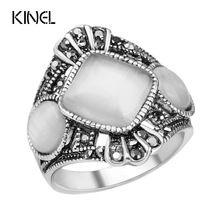 US $1.51 Vintage Opal Rings Sliver Plated Hand Decorated Antique Silver Plated Retro Oval Stone Opal Rings For Women. Aliexpress product