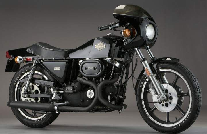The 1977 Harley Davidson XLCR (Cafe Racer). I love the stubby cafe windscreen and the blacked out pipes.