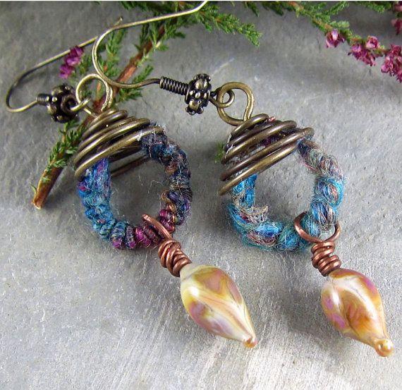Spiral Wirework Earrings Purple Lavender Lampwork Glass Fiber OOAK WoolyWire Hand Spun Dyed Wool