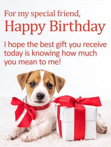 """You mean a Lot to Me! Happy Birthday Card for Friends: """"Aww!"""" This cute puppy is all decked out in a big red bow and posed next to a special present for your special friend on their birthday! Could there be a cuter way to remind them how much their friendship means to you each and every day? Whether they're young or old, they'll surely appreciate this sweet sentiment!"""