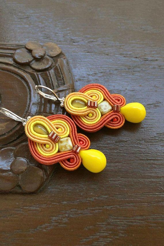 Orange Earrings Soutache Earrings Orange Dangle by BeadsNSoutache
