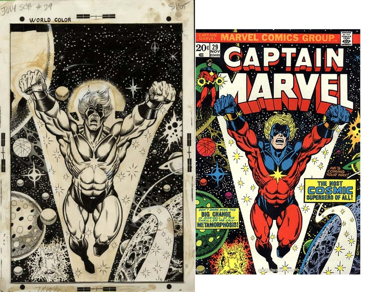 Another before-and-after, here's Jim Starlin and Al Milgrom's cover to CAPTAIN MARVEL #29 as drawn, and then as printed with Mar-Vell's face and head retouched by John Romita. This figure ended up on a lot of the Marvel merchandise of the period as I recall.