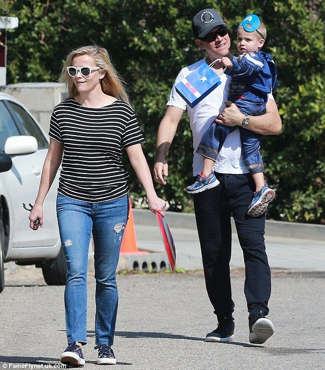 He's had just too much fun: Reese Witherspoon and husband Jim Toth smiled as they left Sam...